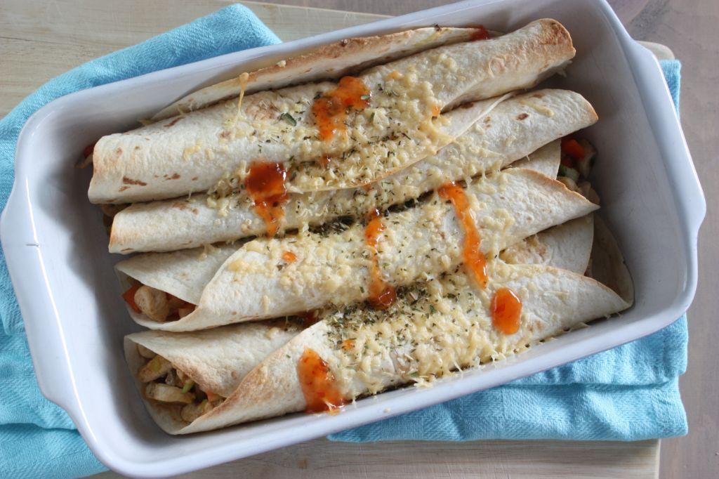 Wraps met groenten en kip