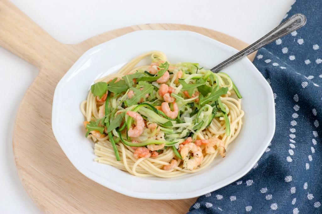 Knoflook spaghetti met garnalen